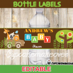 editable jungle safari baby shower bottle labels