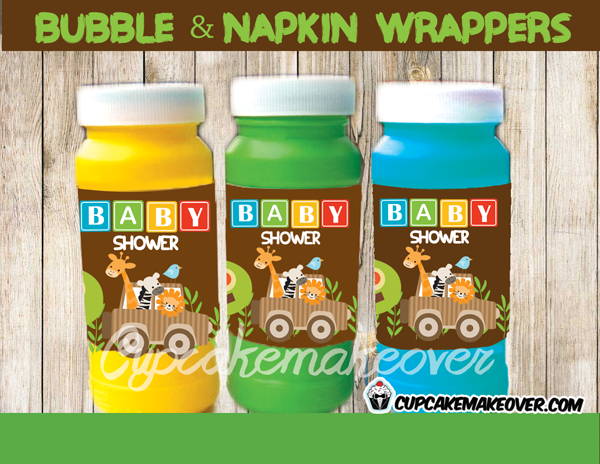 jungle safari baby shower boy napkin rings bubble wraps