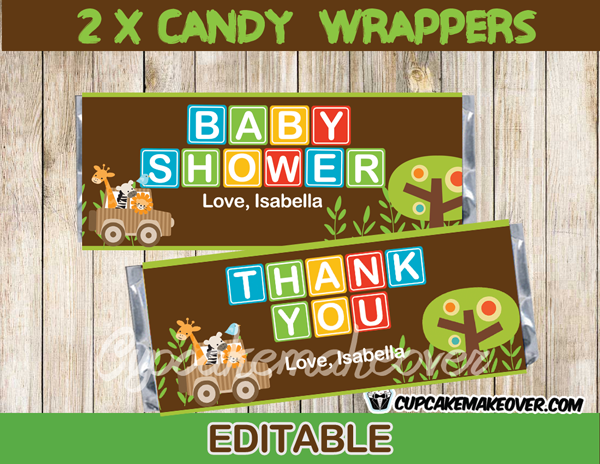 editable Chocolate Baby Shower Candy Bar Wrappers personalized