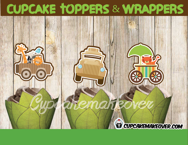 jungle party baby shower boy cupcake toppers wrappers