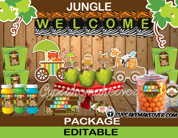 cute printable jungle animals boy baby shower package supplies