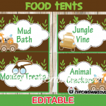 jungle baby shower food labels