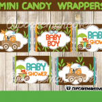 jungle baby shower mini candy bar wrappers printable