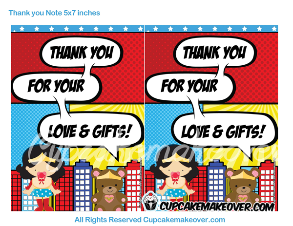 editable wonder girl thank you cards