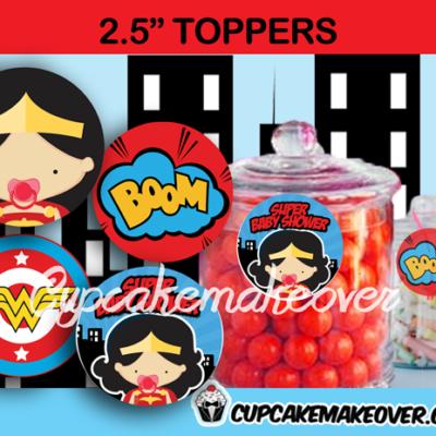 comic wonder baby girl editable toppers
