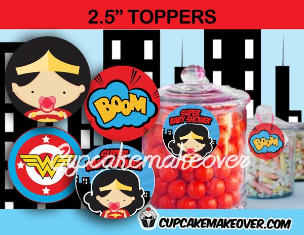 comic wonder baby girl editable toppers