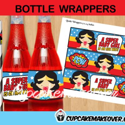 wonder woman girl bottle labels