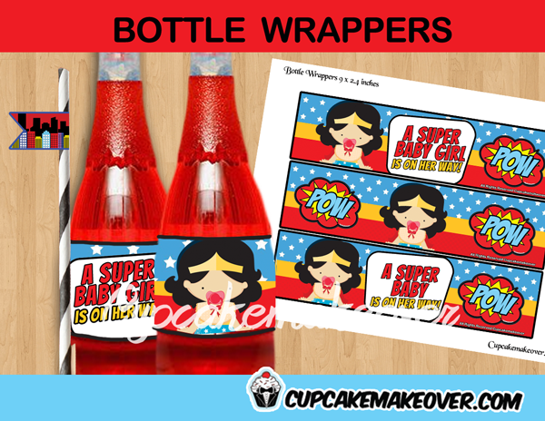 wonder woman girl bottle labels