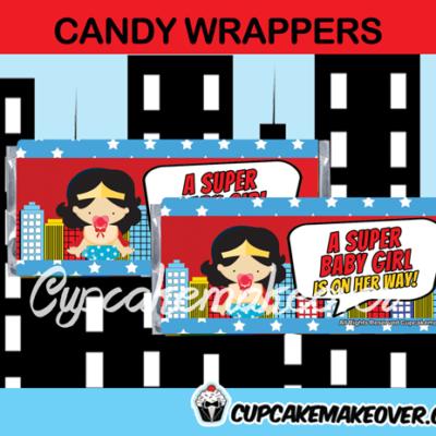 editable wonder woman girl candy bar labels