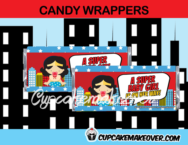 editable wonder woman girl candy bar labels