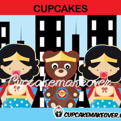 wonder woman girl baby shower cupcakes