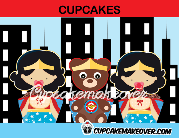 wonder woman girl baby shower cupcakes