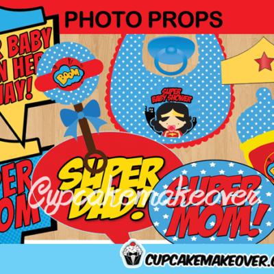 comic wonder woman baby shower girl photo props