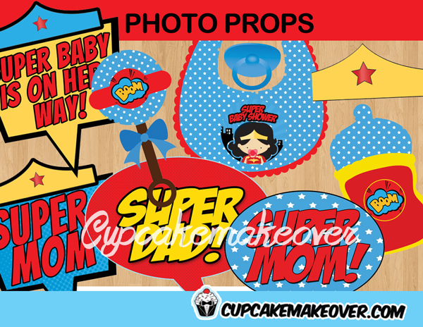 comic wonder woman baby shower girl photo props