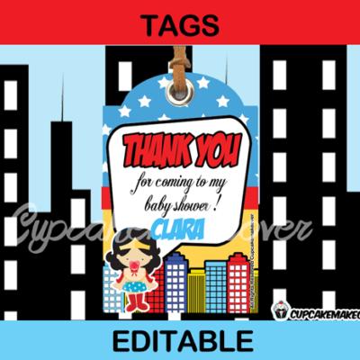 comic wonder woman baby girl editable favor tags