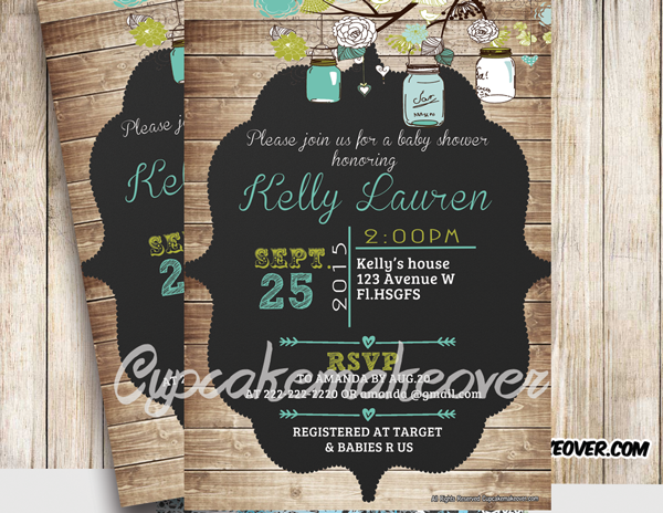 country rustic mason jars baby shower invitation shabby chic wood