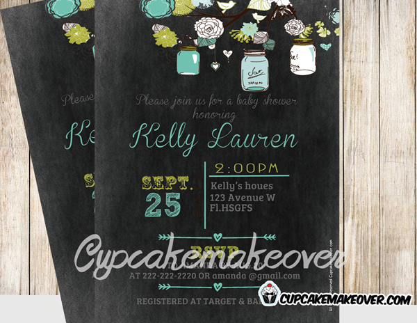 custom diy mason jars baby shower blackboard invitation