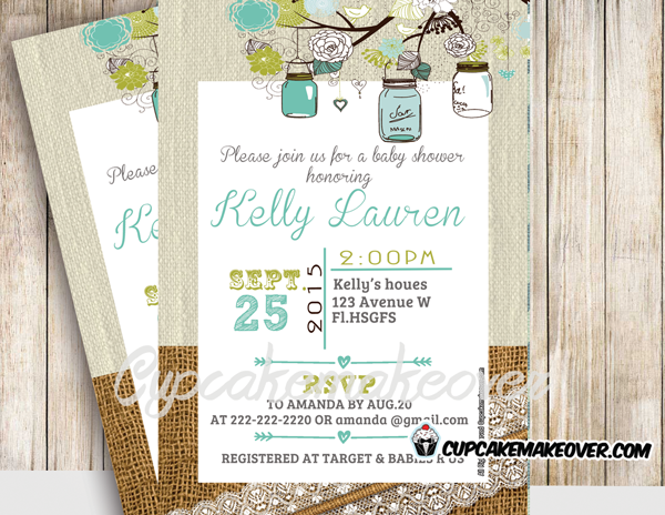 printable blue green burlap lace mason jars baby shower invitations boys