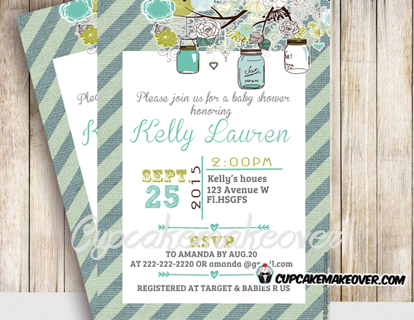 printable turquoise blue floral birch mason jars baby shower invitation