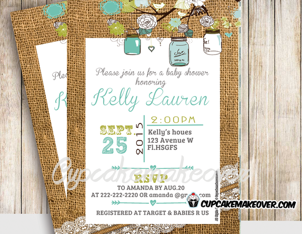 diy printable mason jar baby shower invitation burlap lace