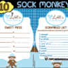 printable boy sock monkey themed baby shower games
