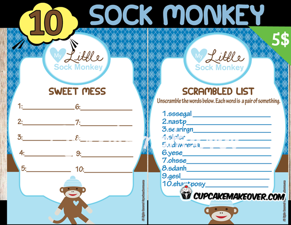 300 boy sock monkey baby shower games sweet mess and scrambled list