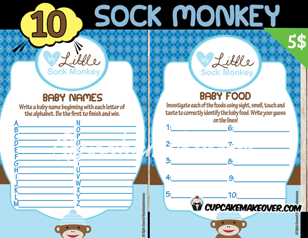 Sock Monkey Boy Baby Shower Games – INSTANT DOWNLOAD - Cupcakemakeover