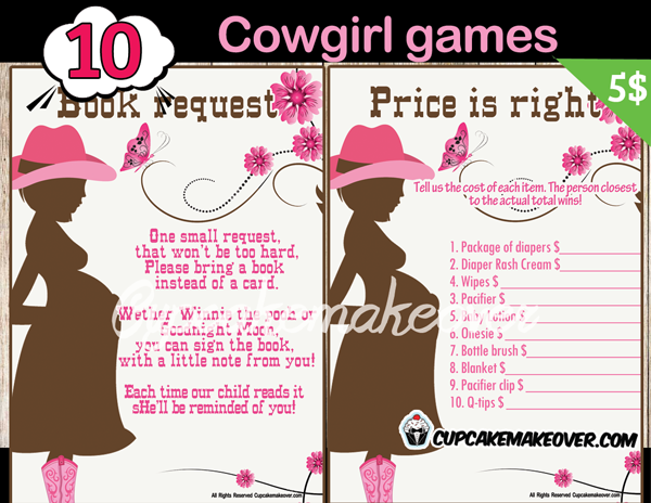 printable western mommy to be baby girl shower games
