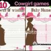 pink printable western baby shower games