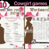 cowgirl pink baby shower games