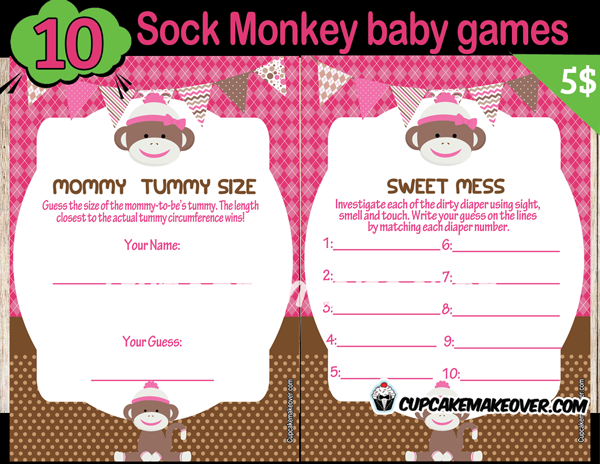 Sock Monkey Girl Baby Shower Games Instant Download
