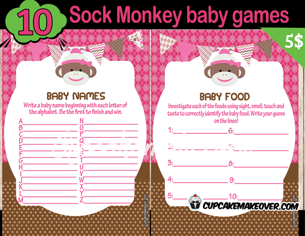 Sock Monkey Girl Baby Shower Games – INSTANT DOWNLOAD ...
