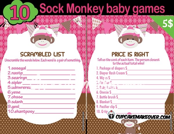 printable girl sock monkey themed baby shower games