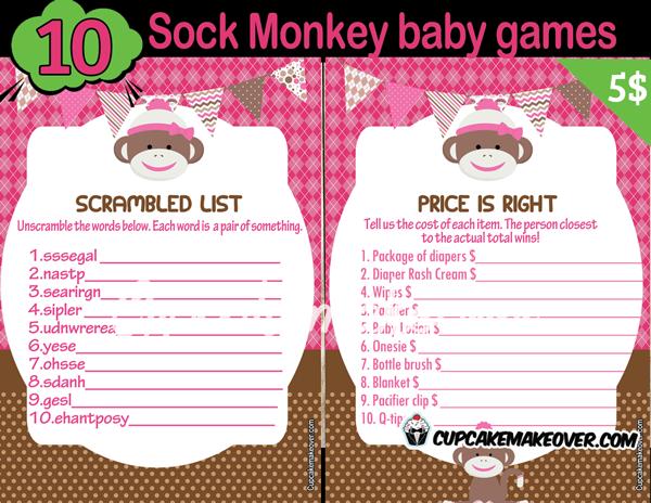 Printable Girl Sock Monkey Themed Baby Shower Games
