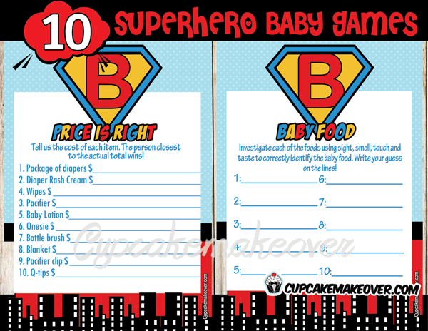 superhero printable baby shower games