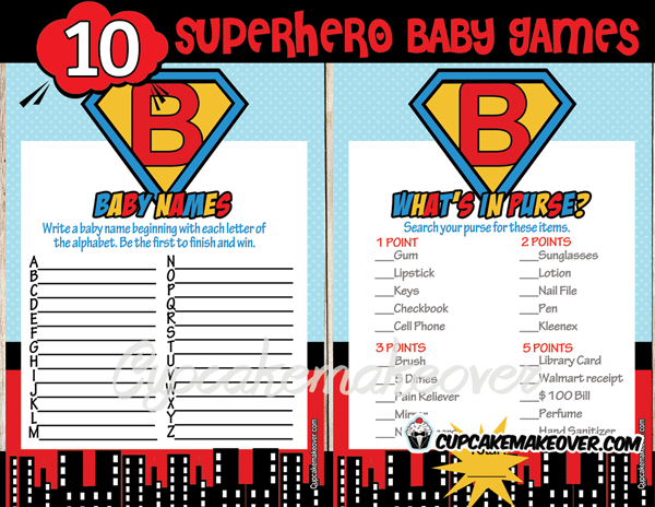 super hero printable baby shower games for your shower