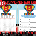 super hero baby boy printable shower games