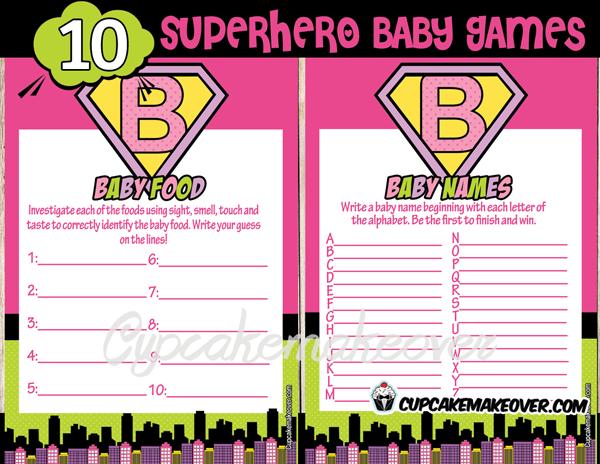 Superhero Girl Baby Shower Games Instant Download Cupcakemakeover