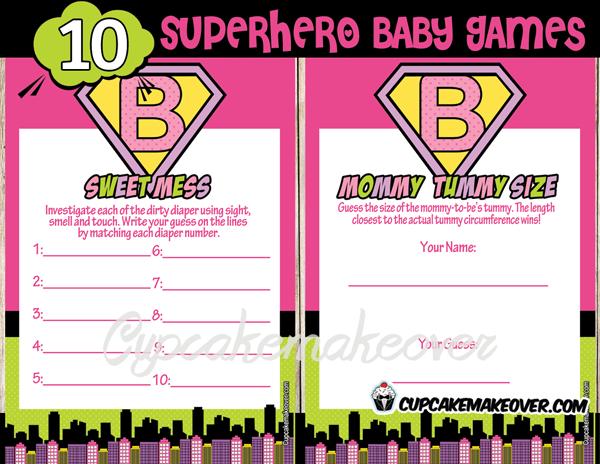 superhero girl printable baby shower games