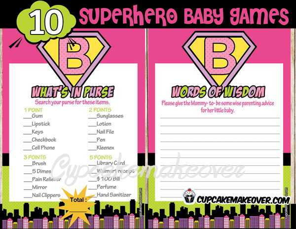 Superhero Girl Baby Shower Games – INSTANT DOWNLOAD ...