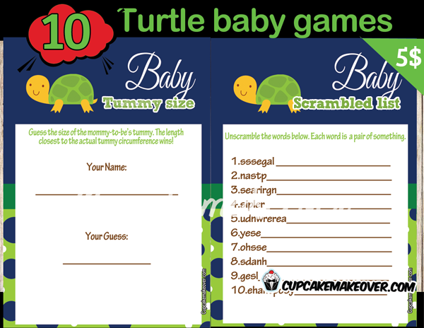 turtle themed baby shower games instant download cupcakemakeover