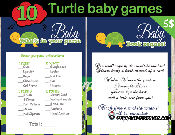 turtle themed baby shower games