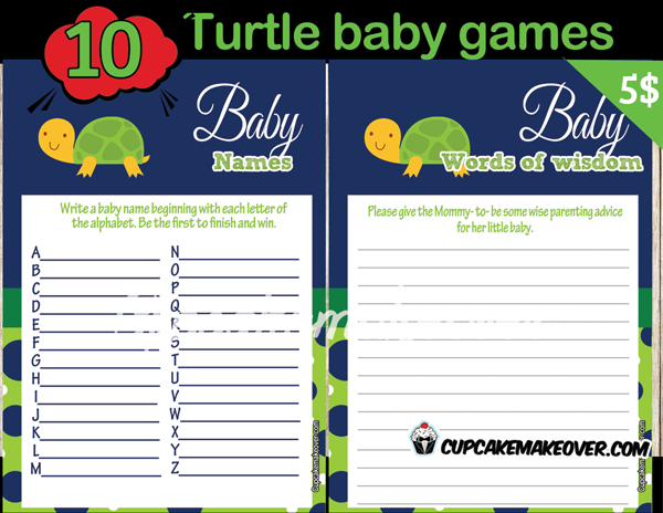 Turtle Themed Baby Shower Games Instant Download