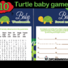 blue green printable turtle baby shower games