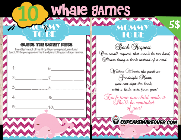 whale girl baby shower games instant download cupcakemakeover