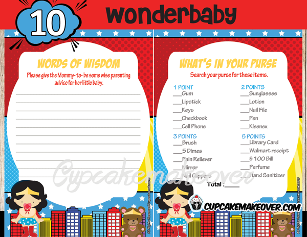 Wonder Girl Baby Shower Games Cupcakemakeover