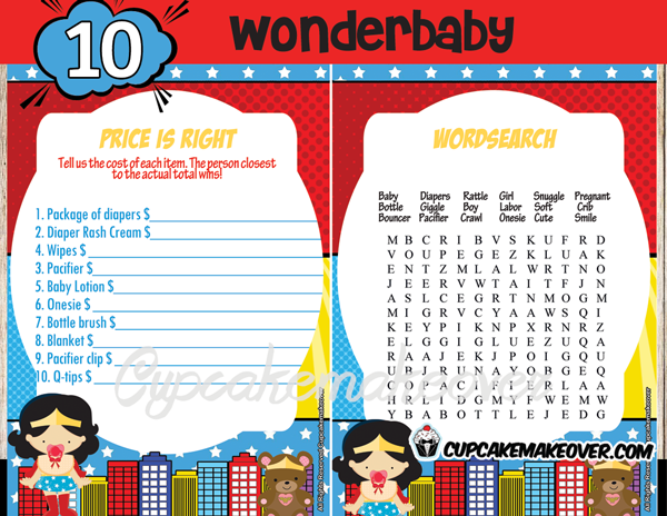 comic themed wonder woman baby shower games