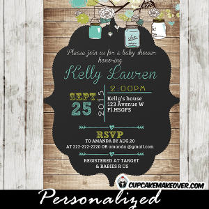 rustic mason jar baby shower invitations shabby chic country wood