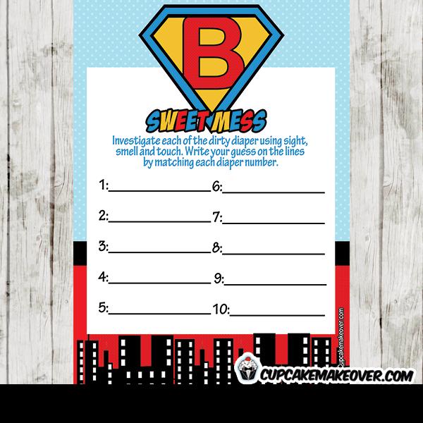 Superhero Boy Baby Shower Games Cupcakemakeover