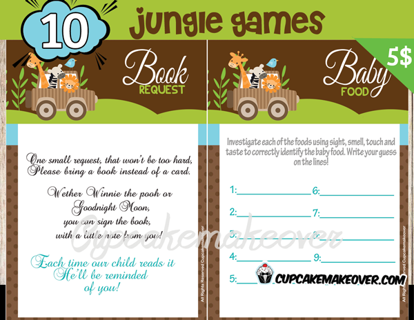 Beautiful Printable Jungle Themed Baby Shower Games